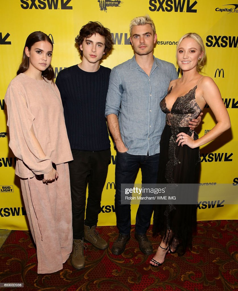 Actors Maia Mitchell, Timothee Chalamet, Maika Monroe and Alex Roe attend Imperative Entertainment's 'Hot Summer Nights' SXSW world premiere at Paramount Theatre on March 13, 2017 in Austin, Texas.