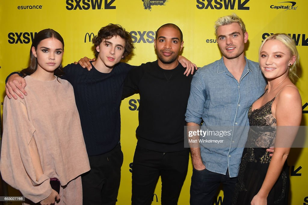 Actors Maie Mitchell, Timothee Chalamet, director Elijah Bynum, actors Alex Roe, and Maika Monroe attend the 'Hot Summer Nights' premiere 2017 SXSW Conference and Festivals on March 13, 2017 in Austin, Texas.