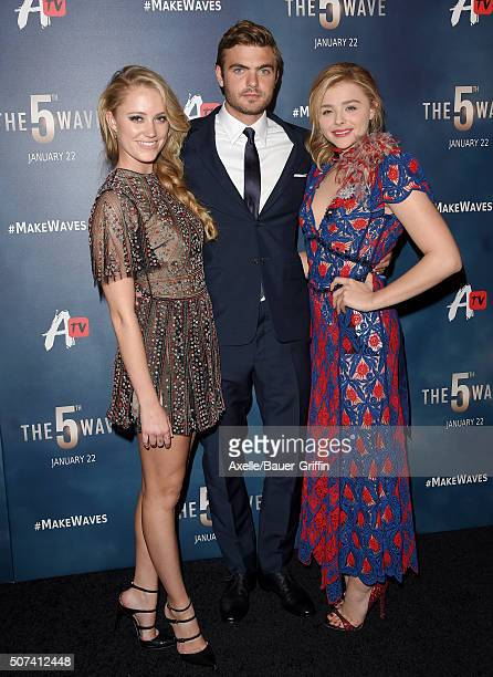Actors Maika Monroe Alex Roe and Chloe Grace Moretz arrive at AwesomenessTV Special Fan Screening of 'The 5th Wave' at Pacific Theatre at The Grove...