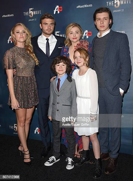 Actors Maika Monroe Alex Roe Zackary Arthur Chloe Grace Moretz Talitha Bateman and Nick Robinson arrive at AwesomenessTV Special Fan Screening of...