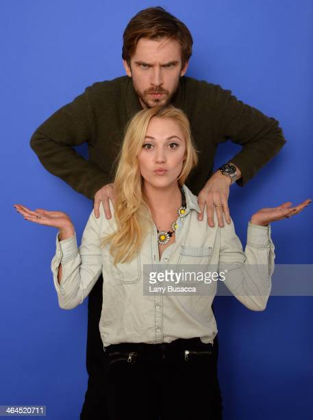 Actors Maika Monroe and Dan Stevens pose for a portrait during the 2014 Sundance Film Festival at the Getty Images Portrait Studio at the Village At...