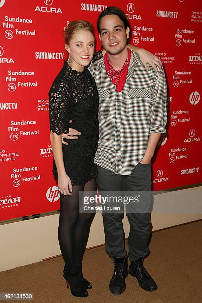 Actors Maika Monroe and Daniel Zovatto arrive at the 'It Follows' premiere during the 2015 Sundance Film Festival on January 24 2015 in Park City Utah