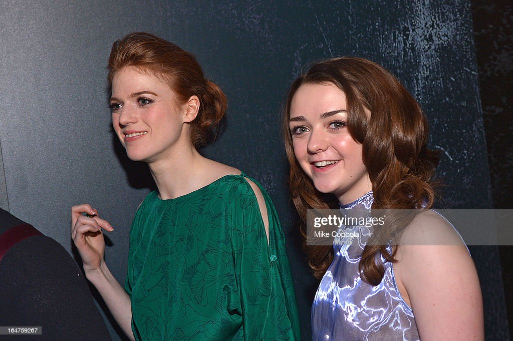 Actors Maisie Williams (L) and Rose Leslie attend 'Game Of Thrones' The Exhibition New York Opening at 3 West 57th Avenue on March 27, 2013 in New York City.