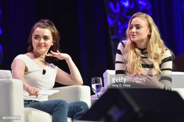Actors Maisie Williams and Sophie Turner speak onstage at 'Featured Session Game of Thrones' during 2017 SXSW Conference and Festivals at Austin...