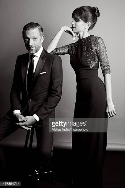 Actors Maiwenn and Vincent Cassel are is photographed for Madame Figaro on May 24 2015 at the Cannes Film Festival in Cannes France Vincent Tuxedo...