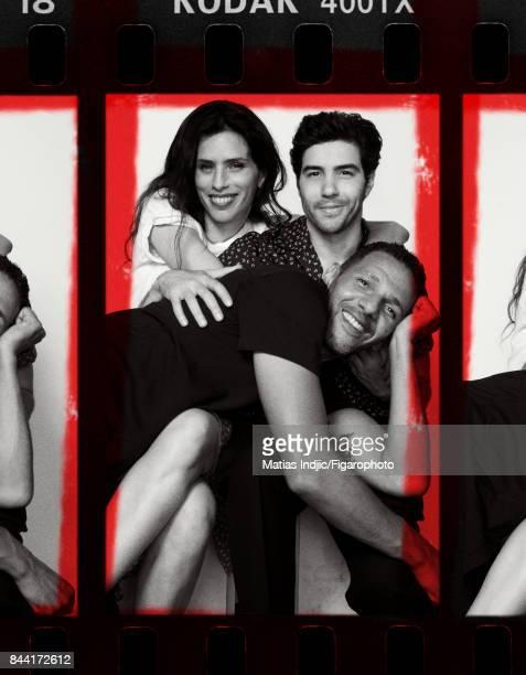 Actors Maiwenn Tahar Rahim and Roschdy Zem are photographed for Madame Figaro on July 6 2017 in Paris France Zem Shirt jeans Maiwenn Tshirt shirt...