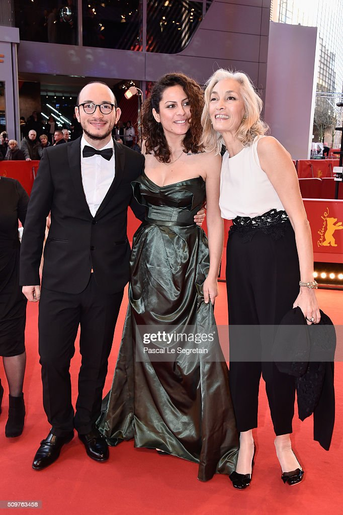 Actors Majjd Mastoura, Rym Ben Messaoud and producer Dora Bouchoucha Fourati attend the 'Inhebbek Hedi' premiere during the 66th Berlinale International Film Festival Berlin at Berlinale Palace on February 12, 2016 in Berlin, Germany.