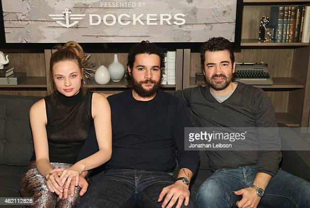 Actors Makenzie Leigh Christopher Abbot and Ron Livingston attend the The Variety Studio At Sundance Presented By Dockers on January 24 2015 in Park...