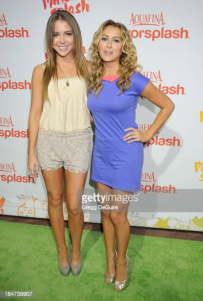 Actors Makenzie Vega and Alexa Vega arrive at the Aquafina FlavorSplash Launch Party at Sony Pictures Studios on October 15 2013 in Culver City...