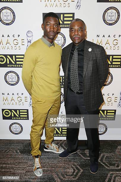 Actors Malachi Kirby and LeVar Burton arrives at the 48th NAACP Image Awards Nominees' Luncheon at Loews Hollywood Hotel on January 28 2017 in...