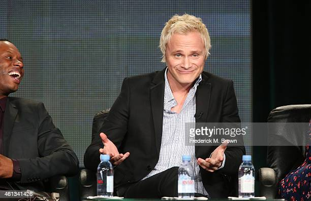 Actors Malcolm Goodwin and David Anders speak onstage during the 'iZombie' panel as part of The CW 2015 Winter Television Critics Association press...