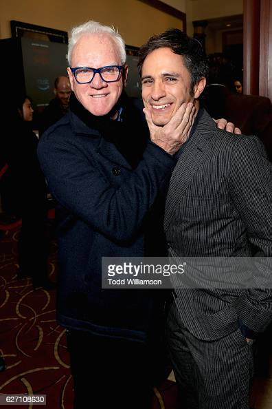 Actors Malcolm McDowell and Gael Garcia Bernal attend the 'Mozart In the Jungle' red Carpet premiere and concert held at The Grove on December 1 2016...