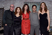 Actors Malcolm McDowell Bernadette Peters Lola Kirke Gael Garcia Bernal and Saffron Burrows pose onstage during the Screening and QA for Amazon's...
