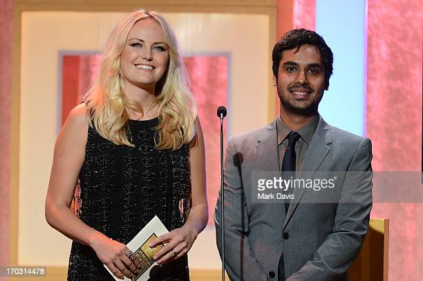 Actors Malin Akerman and Kunal Nayyar speak onstage during Broadcast Television Journalists Association's third annual Critics' Choice Television...