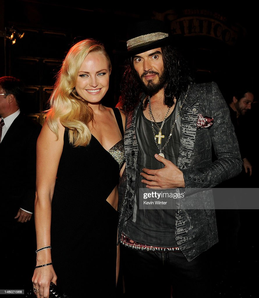 Actors <a gi-track='captionPersonalityLinkClicked' href=/galleries/search?phrase=Malin+Akerman&family=editorial&specificpeople=598245 ng-click='$event.stopPropagation()'>Malin Akerman</a> (L) and <a gi-track='captionPersonalityLinkClicked' href=/galleries/search?phrase=Russell+Brand&family=editorial&specificpeople=536593 ng-click='$event.stopPropagation()'>Russell Brand</a> pose at the after party for the premiere of Warner Bros. Pictures' 'Rock Of Ages' at Hollywood and Highland on June 8, 2012 in Los Angeles, California.