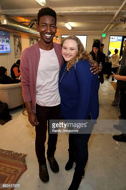 Actors Mamoudou Athie and Danielle Macdonald attend ATT At The Lift during the 2017 Sundance Film Festival on January 22 2017 in Park City Utah
