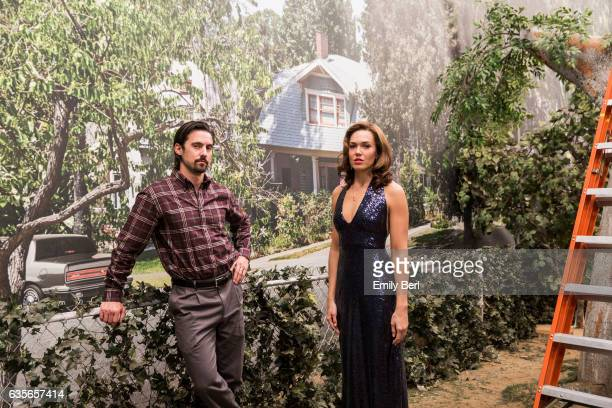 Actors Mandy Moore and Milo Ventimiglia are photographed on the set of NBC's 'This Is Us' for New York Times on February 3 2017 in Los Angeles...