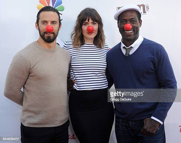 Actors Mandy Moore Sterling K Brown and Milo Ventimiglia arrive at The Red Nose Day Special at the Alfred Hitchcock Theater at Universal Studios on...