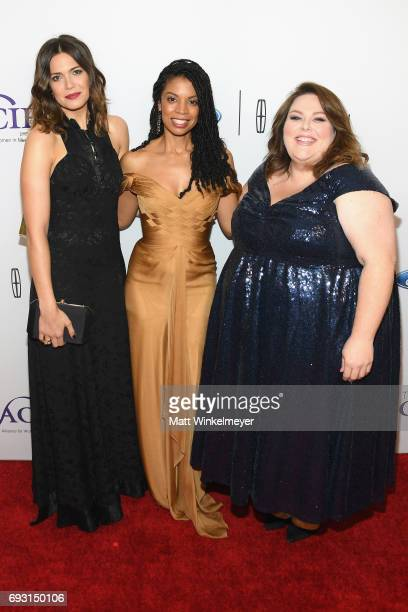 Actors Mandy Moore Susan Kelechi Watson and Chrissy Metz attend the 42nd Annual Gracie Awards at the Beverly Wilshire Hotel on June 6 2017 in Beverly...