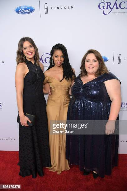 Actors Mandy Moore Susan Kelechi Watson and Chrissy Metz attend the 42nd Annual Gracie Awards Gala hosted by The Alliance for Women in Media at the...