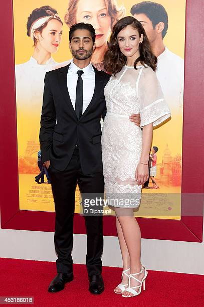 Actors Manish Dayal and Charlotte Le Bon attend 'The HundredFoot Journey' New York premiere at the Ziegfeld Theater on August 4 2014 in New York City