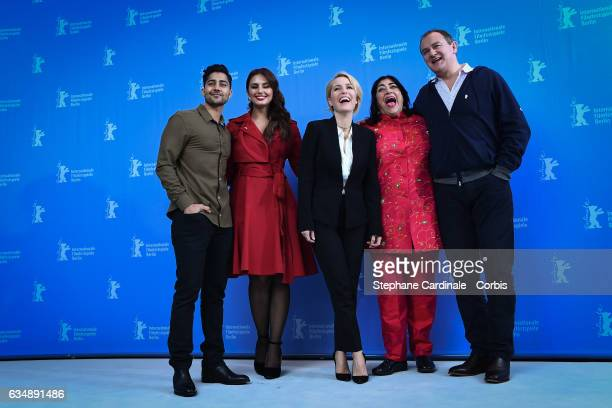 Actors Manish Dayal Huma Qureshi Gillian Anderson film director Gurinder Chadha and actor Hugh Bonneville attend the 'Viceroy's House' photo call...