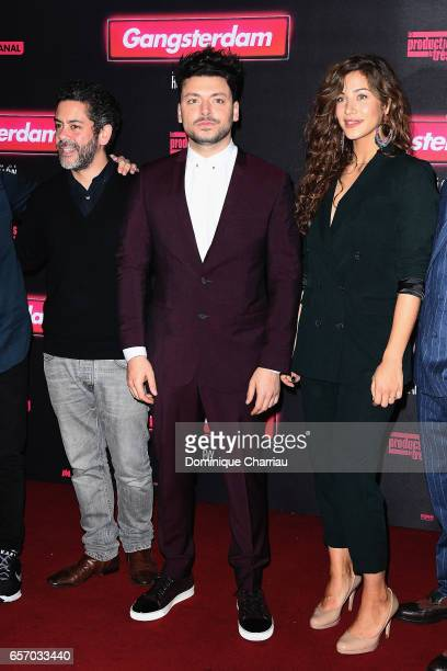 Actors Manu Payet Kev Adams and Manon Azem attends the 'Gangsterdam' Paris Premiere at Le Grand Rex on March 23 2017 in Paris France