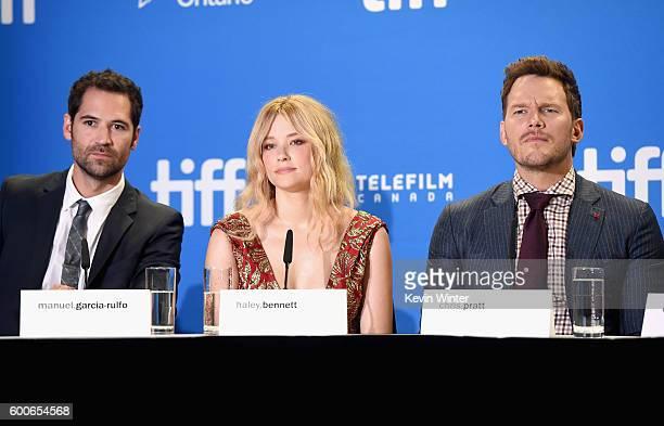 Actors Manuel GarciaRulfo Haley Bennett and Chris Pratt speak at 'The Magnificent Seven' press conference during the 2016 Toronto International Film...