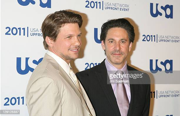 Actors Marc Blucas and Scott Cohen attend the 2011 USA Upfront at The Tent at Lincoln Center on May 2 2011 in New York City