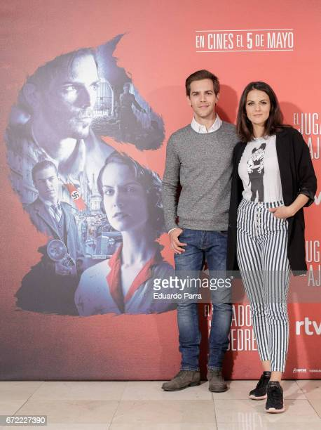 Actors Marc Clotet and Melina Matthews attend the 'El Jugador de Ajedrez' photocall at Princesa cinema on April 24 2017 in Madrid Spain