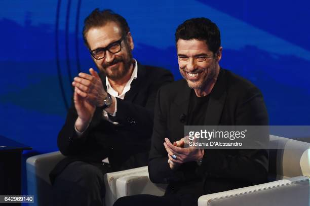 Actors Marco Giallini and Alessandro Gassmann attend 'Che Tempo Che Fa' tv show on February 19 2017 in Milan Italy
