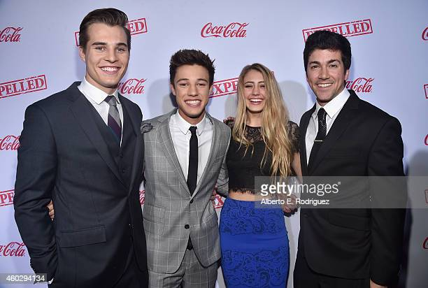 Actors Marcus Johns Cameron Dallas Lia Marie Johnson and director Alex Goyette attend the premiere of Awesomeness TV's 'EXPELLED' at Westwood Village...