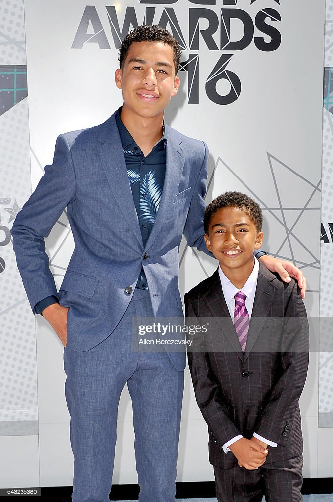 Actors <a gi-track='captionPersonalityLinkClicked' href=/galleries/search?phrase=Marcus+Scribner&family=editorial&specificpeople=12819652 ng-click='$event.stopPropagation()'>Marcus Scribner</a> (L) and <a gi-track='captionPersonalityLinkClicked' href=/galleries/search?phrase=Miles+Brown&family=editorial&specificpeople=6931307 ng-click='$event.stopPropagation()'>Miles Brown</a> attend the 2016 BET Awards at Microsoft Theater on June 26, 2016 in Los Angeles, California.