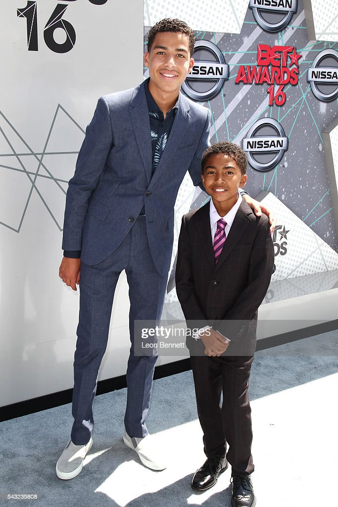 Actors <a gi-track='captionPersonalityLinkClicked' href=/galleries/search?phrase=Marcus+Scribner&family=editorial&specificpeople=12819652 ng-click='$event.stopPropagation()'>Marcus Scribner</a> (L) and <a gi-track='captionPersonalityLinkClicked' href=/galleries/search?phrase=Miles+Brown&family=editorial&specificpeople=6931307 ng-click='$event.stopPropagation()'>Miles Brown</a> attend the Make A Wish VIP Experience at the 2016 BET Awards on June 26, 2016 in Los Angeles, California.
