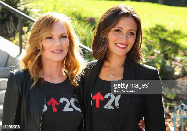 Actors Marg Helgenberger and Italia Ricci attend the 'Stand Up To Cancer' press conference at Los Angeles City Hall on August 27 2014 in Los Angeles...