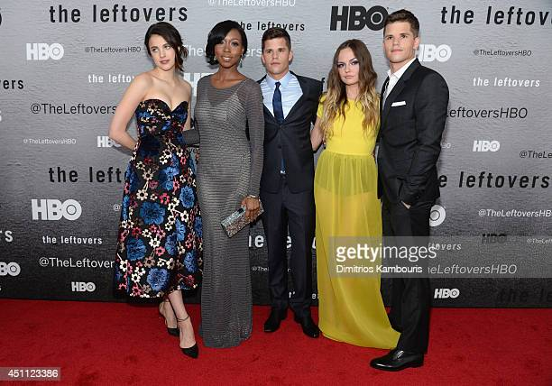 Actors Margaret Qualley Amanda Warren Charlie Carver Emily Meade and Max Carver attend 'The Leftovers' premiere at NYU Skirball Center on June 23...