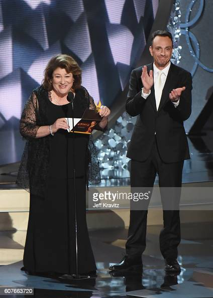 Actors Margo Martindale and Hank Azaria speak onstage during the 68th Annual Primetime Emmy Awards at Microsoft Theater on September 18 2016 in Los...