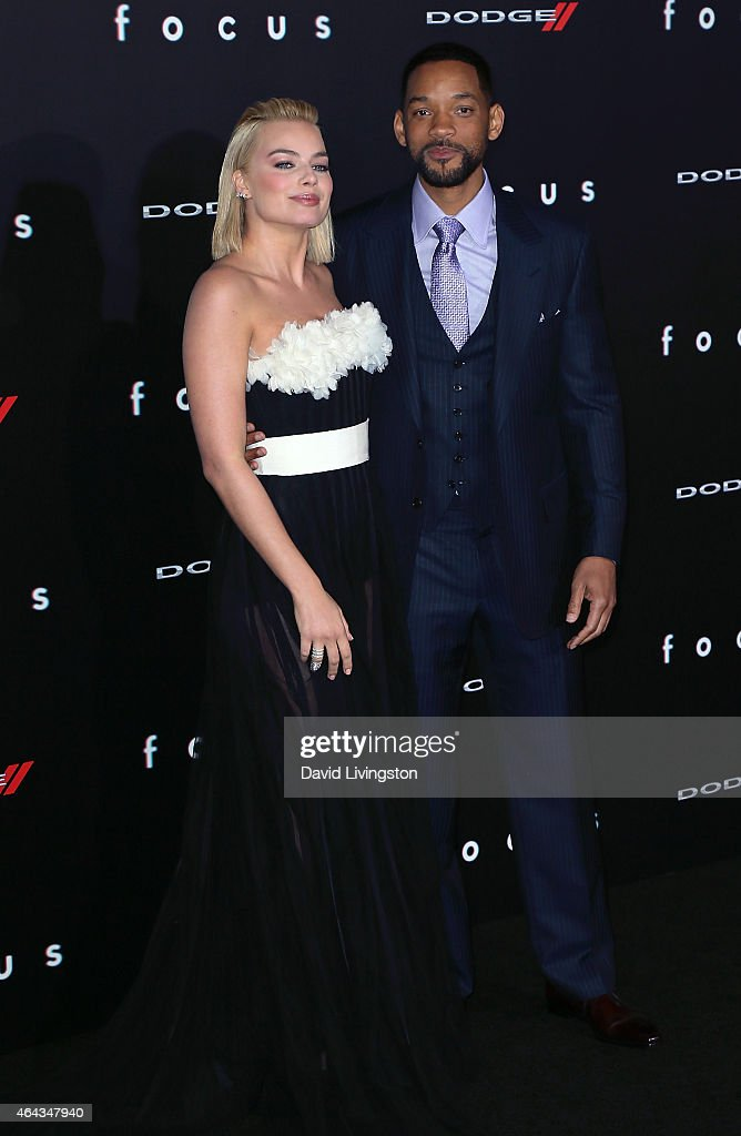Actors Margot Robbie (L) and Will Smith attend the premiere of Warner Bros. Pictures' 'Focus' at the TCL Chinese Theater on February 24, 2015 in Hollywood, California.