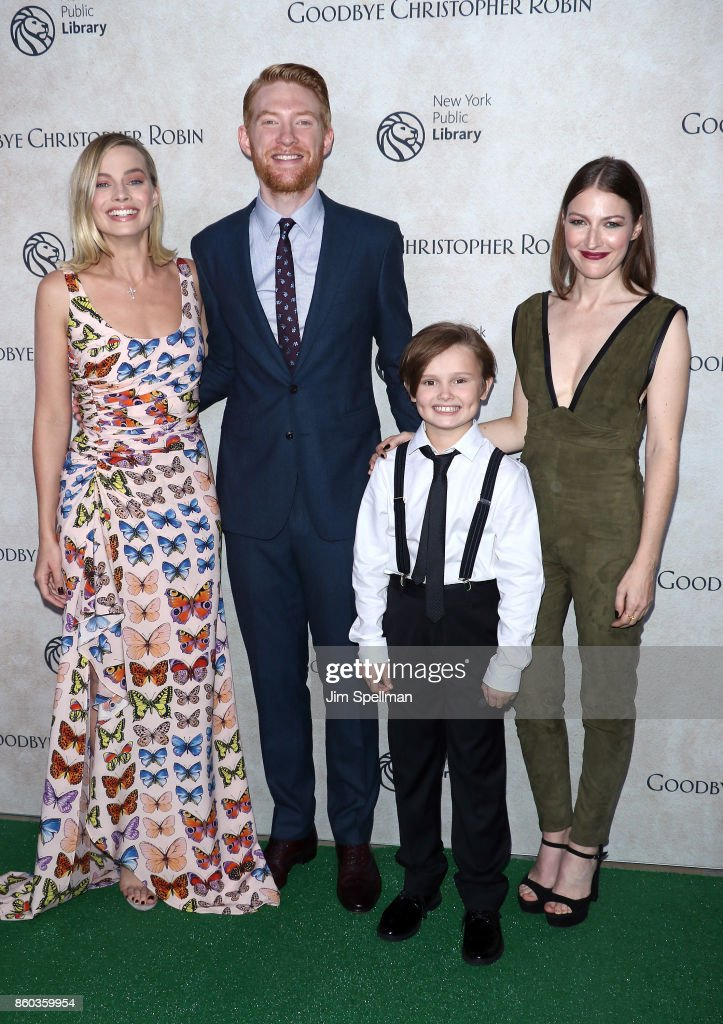 Actors Margot Robbie, Domhnall Gleeson, Will Tilston and Kelly Macdonald attend the 'Good Bye Christopher Robin' New York special screening at The New York Public Library on October 11, 2017 in New York City.