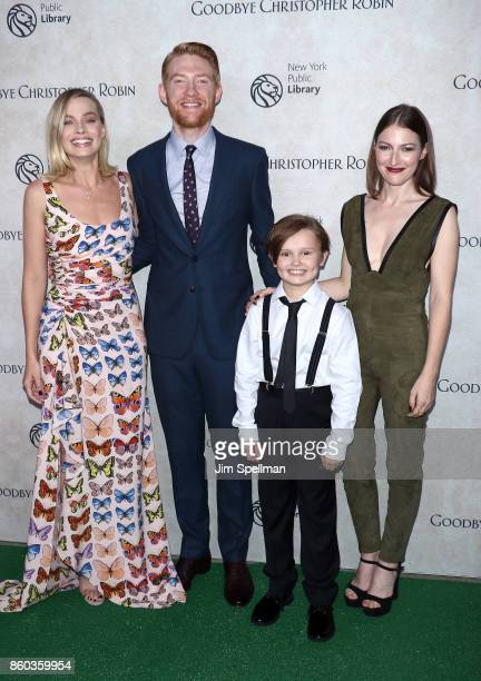 Actors Margot Robbie Domhnall Gleeson Will Tilston and Kelly Macdonald attend the 'Good Bye Christopher Robin' New York special screening at The New...