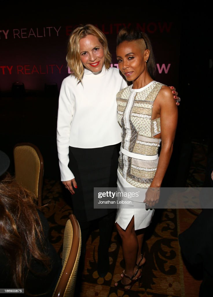 Actors <a gi-track='captionPersonalityLinkClicked' href=/galleries/search?phrase=Maria+Bello&family=editorial&specificpeople=201770 ng-click='$event.stopPropagation()'>Maria Bello</a> (L) and <a gi-track='captionPersonalityLinkClicked' href=/galleries/search?phrase=Jada+Pinkett+Smith&family=editorial&specificpeople=201837 ng-click='$event.stopPropagation()'>Jada Pinkett Smith</a> attend Equality Now presents 'Make Equality Reality' at Montage Hotel on November 4, 2013 in Los Angeles, California.
