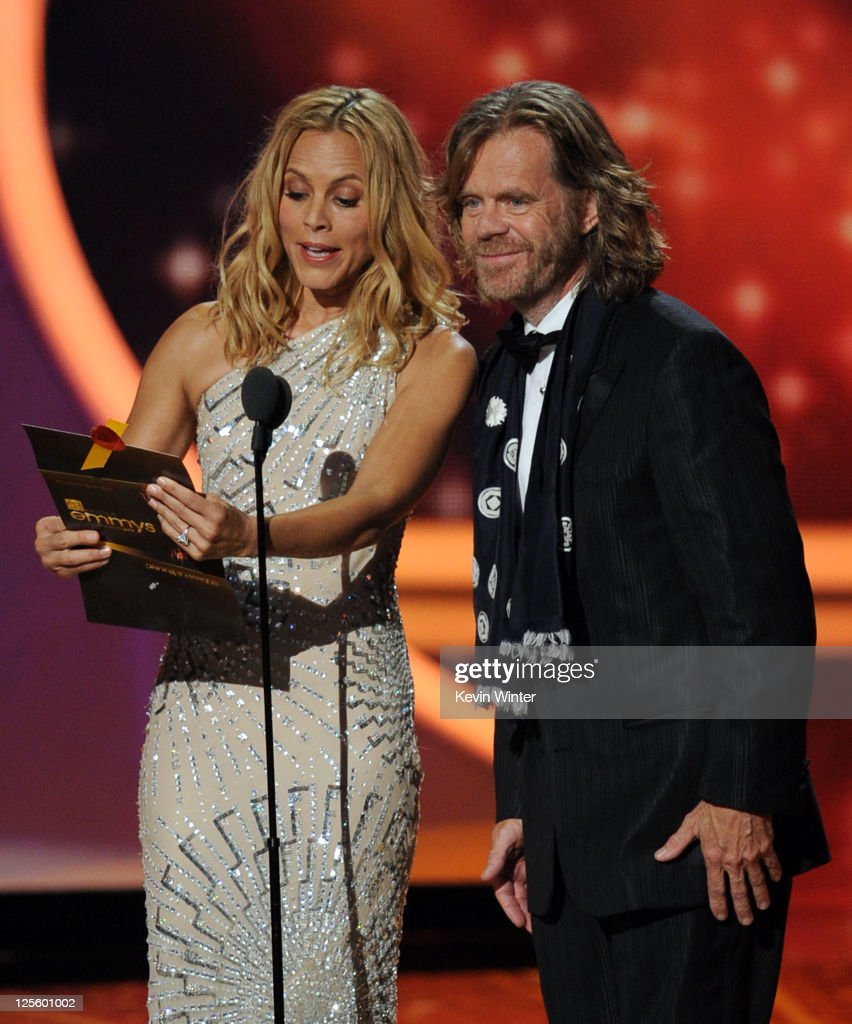 Actors <a gi-track='captionPersonalityLinkClicked' href=/galleries/search?phrase=Maria+Bello&family=editorial&specificpeople=201770 ng-click='$event.stopPropagation()'>Maria Bello</a> (L) and <a gi-track='captionPersonalityLinkClicked' href=/galleries/search?phrase=William+H.+Macy&family=editorial&specificpeople=202170 ng-click='$event.stopPropagation()'>William H. Macy</a> speak onstage during the 63rd Annual Primetime Emmy Awards held at Nokia Theatre L.A. LIVE on September 18, 2011 in Los Angeles, California.