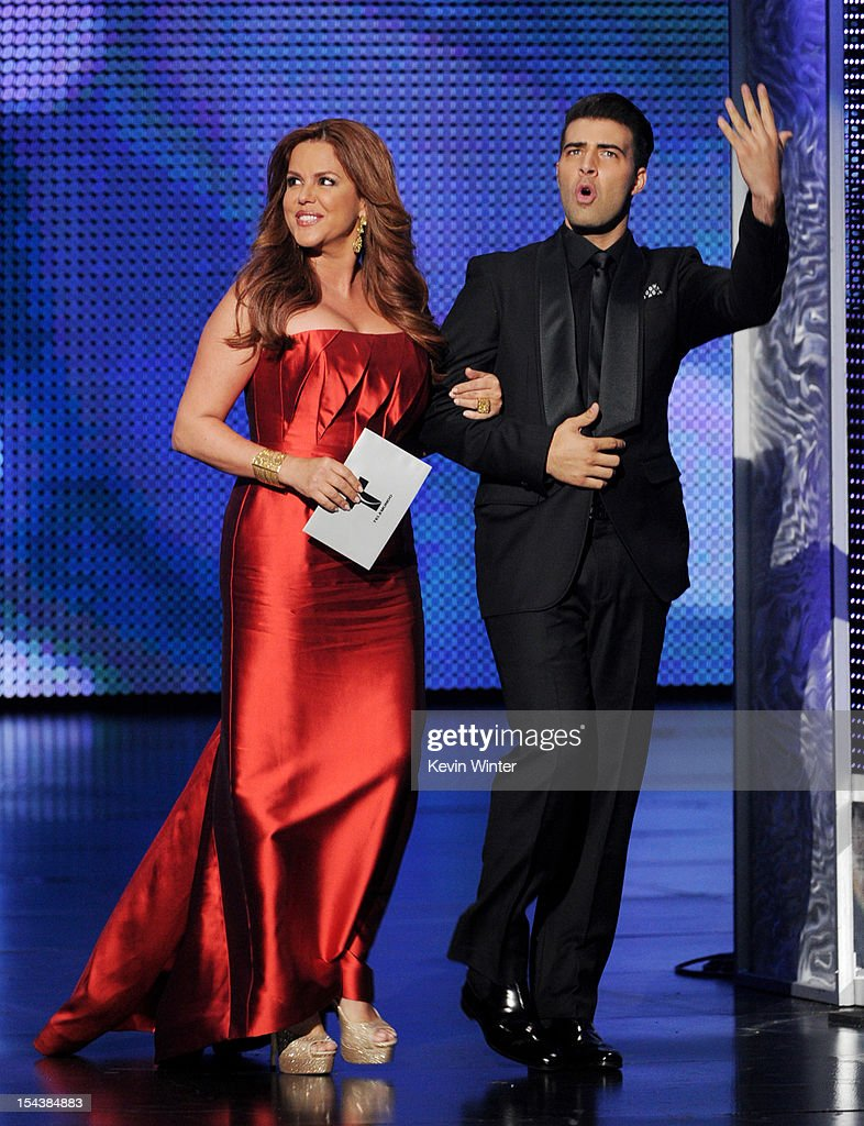 Actors Maria Celeste (L) and <a gi-track='captionPersonalityLinkClicked' href=/galleries/search?phrase=Jencarlos+Canela&family=editorial&specificpeople=4290761 ng-click='$event.stopPropagation()'>Jencarlos Canela</a> appear onstage at the Billboard Mexican Music Awards presented by State Farm on October 18, 2012 in Los Angeles, California.