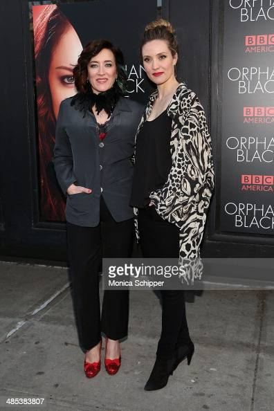 Actors Maria Doyle Kennedy and Evelyne Brochu attend the 'Orphan Black' premiere at Sunshine Cinema on April 17 2014 in New York City