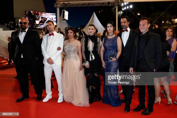Actors Mariam Al Ferjani Ghanem Zrelli and director Kaouther Ben Hania from the movie 'Alaka Kaf Ifrit ' attend the 'Jupiter's Moon' screening during...