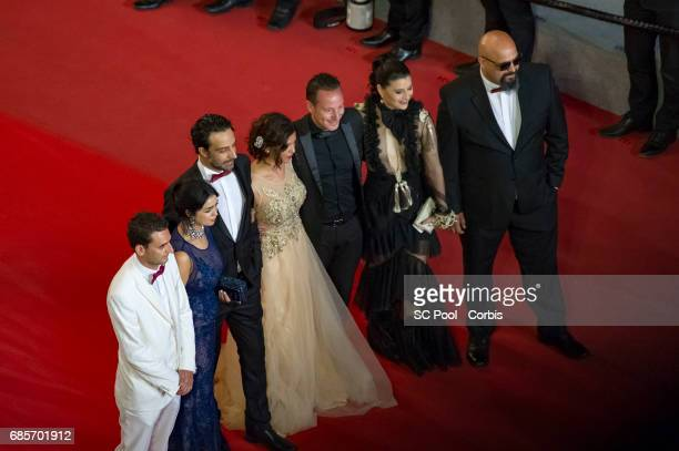 Actors Mariam Al Ferjani Ghanem Zrelli and director Kaouther Ben Hania from the movie 'Alaka Kaf Ifrit ' attends the 'Jupiter's Moon' premiere during...