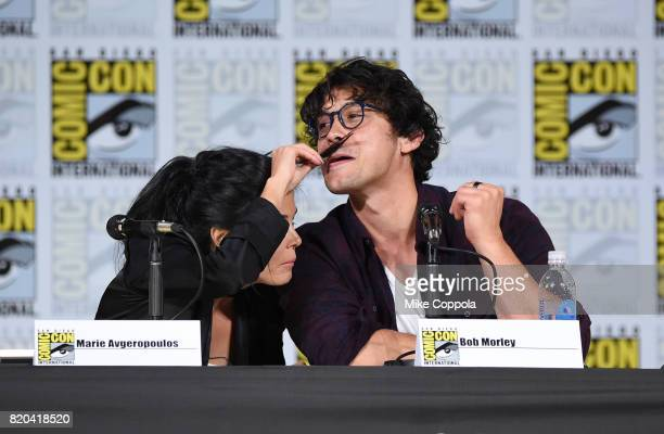 Actors Marie Avgeropoulos and Bob Morley speak onstage at ComicCon International 2017 'The 100' panel at San Diego Convention Center on July 21 2017...