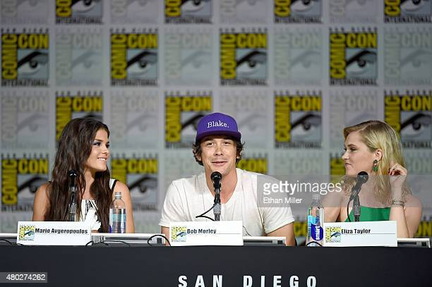 Actors Marie Avgeropoulos Bob Morley and Eliza Taylor attend a special video presentation and panel for 'The 100' during ComicCon International 2015...
