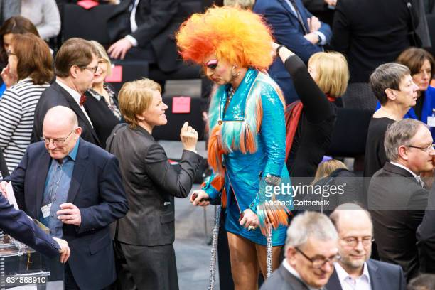 Actors Mariele Millowitsch and Olivia Jones attend the election of a new German President by the Federal Assembly at the Bundestag on February 12...