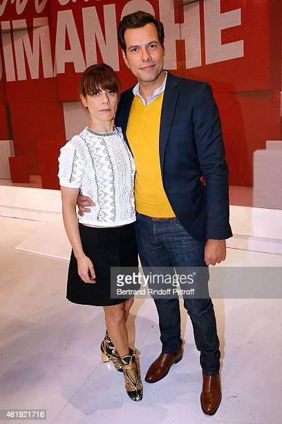 Actors Marina Fois and Laurent Lafitte present the movie 'Papa ou Maman' during the 'Vivement Dimanche' French TV Show at Pavillon Gabriel on January...